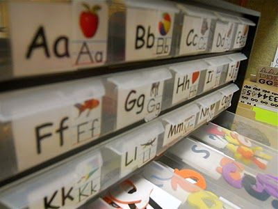 Make an Alphabet Box when playing with letters to keep them organized AND to help them find the letters they want! FUN!