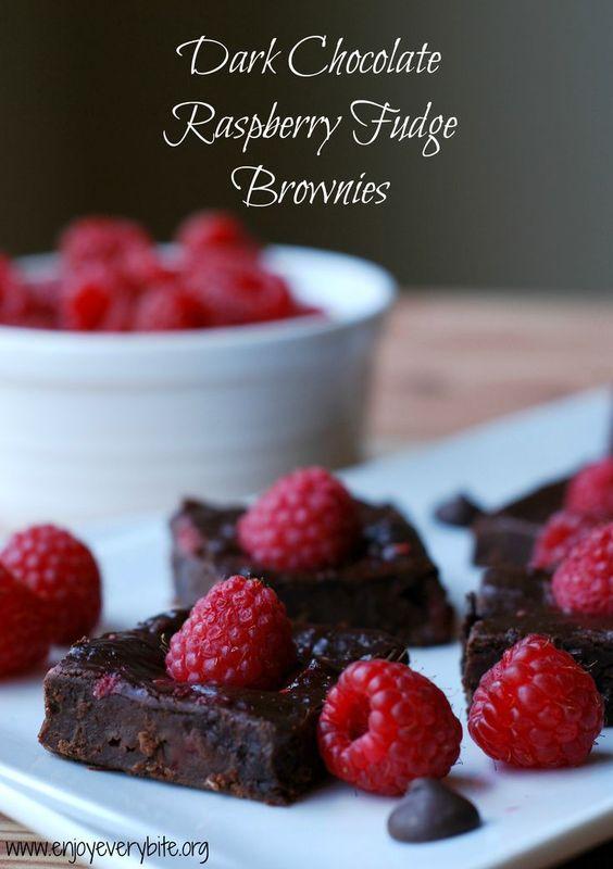 Naturally sweetened dark chocolate raspberry fudge brownies