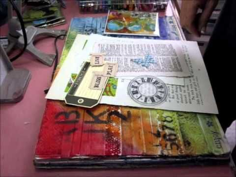 Art Journaling - Using ribbon as a textural background for an art journal page.