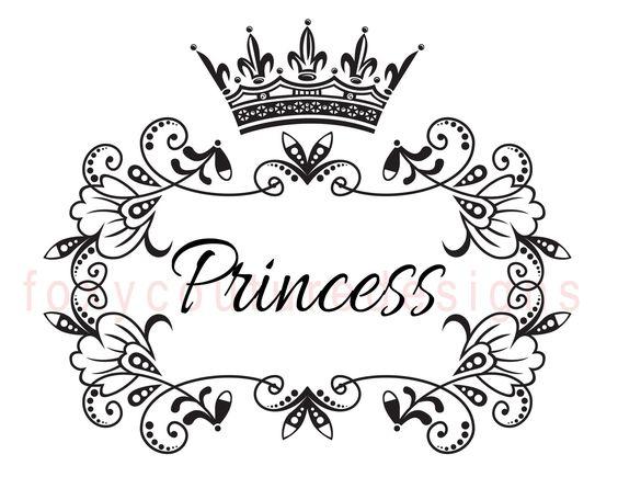 Princess With Crown Vintage Large Image, Word Digital