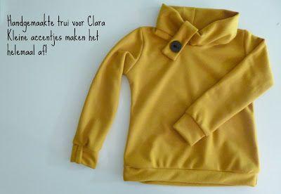 mosterdkleurige trui, handgemaakt naar patroon van kaptrui uit stof voor durf het zelvers. Clara & co