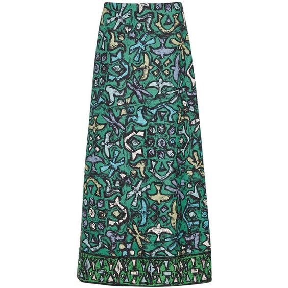 Valentino Printed silk twill maxi skirt ($1,320) ❤ liked on Polyvore featuring skirts, multi colored maxi skirt, long colorful skirts, valentino skirt, colorful maxi skirts and multi color skirt