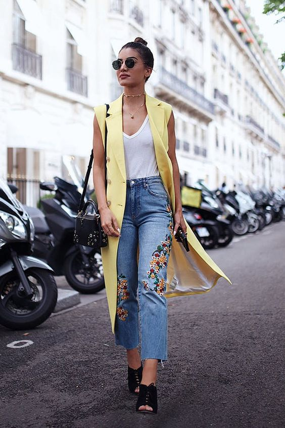 LONG VEST + EMBROIDERED JEANS + PEEP-TOE BOOTIES l 30 Transitional Outfit Ideas for Every Day This September via @PureWow