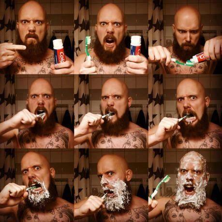 Resultado de imagen para metalhead brushing teeth hard