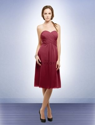 Cranberry Bill Levkoff bridesmaid dress with sweetheart neckline and corset style back.