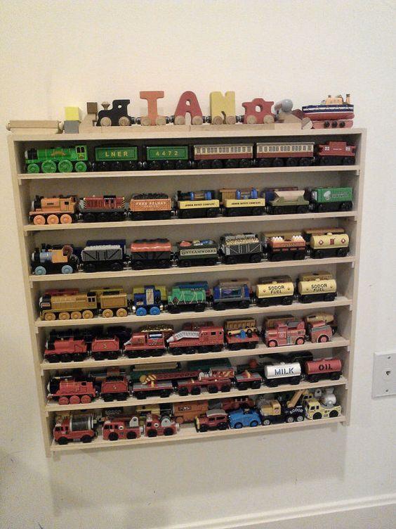 Model Train Racks : Thomas the train wall display and storage rack large