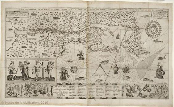 Carte de la Nouvelle-France faite par Champlain (1612) | Nouvelle-France- + ou - # 1 | Pinterest