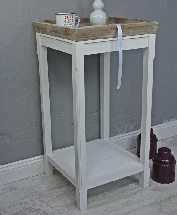 Telefontisch Tisch Beistelltisch Weiss Braun Landhaus Holztisch Holz Neu Tablett Ebay Beistelltisch Mit Stauraum Beistelltisch Weiss Beistelltisch