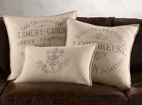 Restoration Hardware Vintage Mercantile Grainsack Pillow
