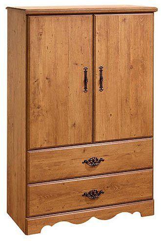 """Prairie 2-Drawer Armoire (Country Pine) (53""""H x 36""""W x 16""""D)"""