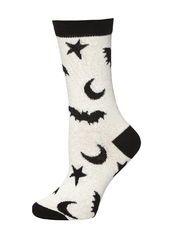Halloween Cream Glitter Bat printed Socks
