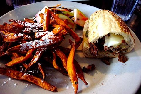 Vegetarian Cheese Steak Sandwich and Sweet Potato Fries from Sabrina's Cafe, Philadelphia