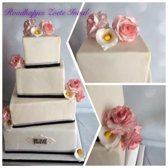 Het bruidspaar wilde geen traditionele taart, maar wel de bloemen uit het boeket en hun kleuren (wit, grijs, zwart en fuchsia) terug laten komen op de taart. Dus een heerlijk eigenwijs scheve taart met de rozen en calla's net als uit het boeket! #bruidstaart #weddingcake #rozen #roodkapjeszoeteinval #suikerbloemen