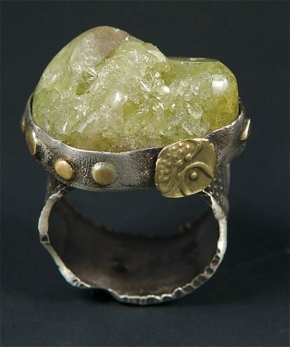 Allison Bellows - Sterling Silver, 18K Gold, Gemmy Vesuvianite Crystal, Ancient Gold Coin.