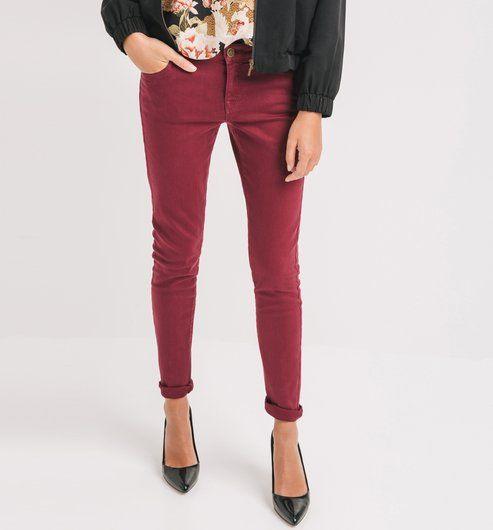 Pantalon+skinny+en+toile+Femme