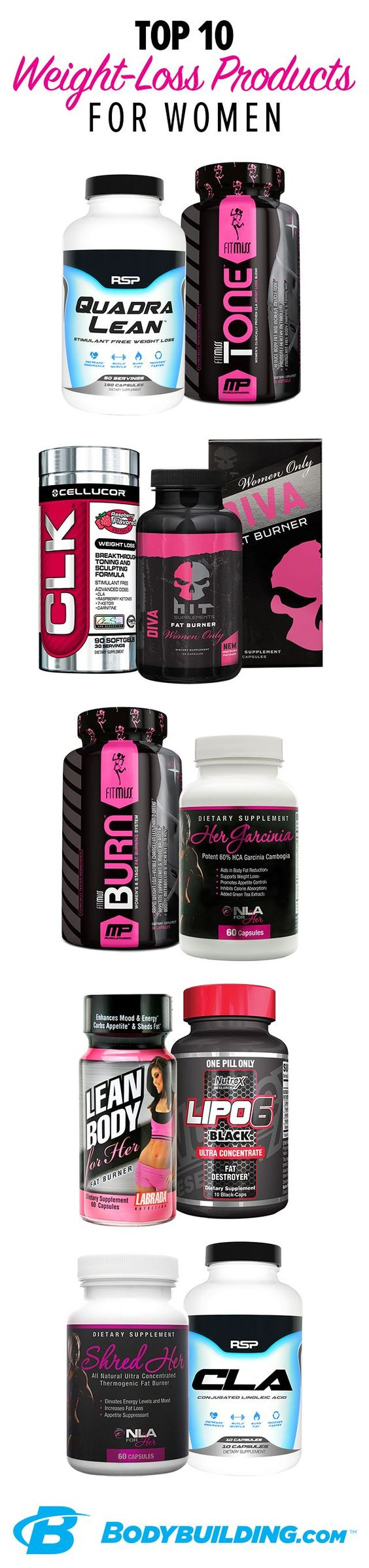 TOP 10 WEIGHT LOSS SUPPLEMENTS FOR WOMEN! Don't let a layer of fat hide your hard-earned lean muscle. Our Top 10 weight loss products can help your body increase metabolism, burn fat as fuel, and control appetite—with or without energizing stimulants. Find the formula that's right for you!