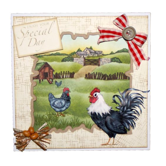 This Gorgeous Card was made by Sally Dodger using Hobby Art's Cockadoodledoo CS069D designed by Sharon Bennett: