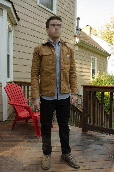 Pointer Chore Coat, Uniqlo OCBD (grey), Levi's 508 (black), Clarks Desert Boot in grey suede,