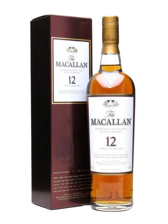 Macallan 12 Year Old / Sherry Oak Deliciously smooth, with rich dried fruits and sherry, balanced with woodsmoke and spice. Described by F Paul Pacult, the renowned international whisky writer, in his book Kindred Spirits as 'simply the best 12 Year Old single malt around'.