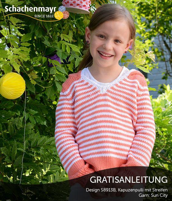 Frecher Mädchen-Ringelpulli mit Kapuze aus Schachenmayr Sun City. #SunCityWolle