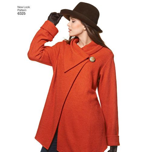 New Look Pattern 6325 Misses' Easy Coat with Length and Front Variations, and Vest:
