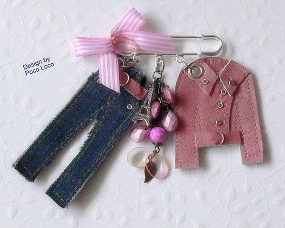 Brosche Couture Miniature Poco Loco Unikat mit von PocoLocoUnikate