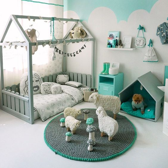 Cute bed! It's still easy to change sheets but looks like a house. Maybe add the…