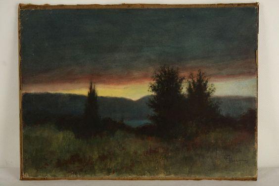 Stimmungsvolles Pastellgemälde Landschaftsgemälde Pastell Romantik Antik Kunst in Antiquitäten & Kunst, Malerei, Gemälde 1800-1899   eBay