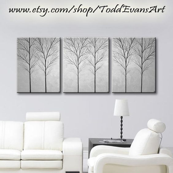 on sale today 48 inches original 3 piece set wall art large canvas brown light brown trees set of 3 art tree painting wall decor triptych