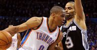 Image: Russell Westbrook of the Oklahoma City Thunder and Tony Parker of the San Antonio Spurs (© Mark D. Smith/US Presswire)