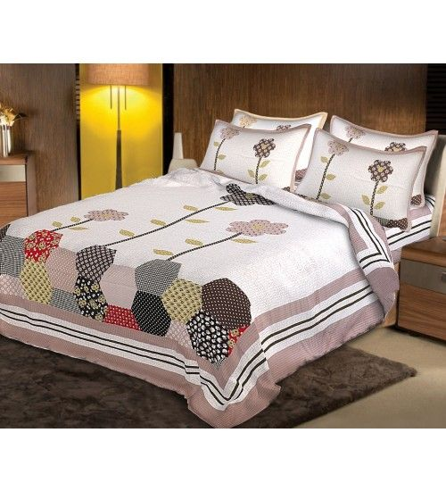 Buy Multi Color Pure Cotton Crazy Panel King Size One Bedsheet