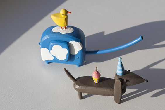 Hilary Pfeifer's whimsical sculptures typically use more than 80% found wood.