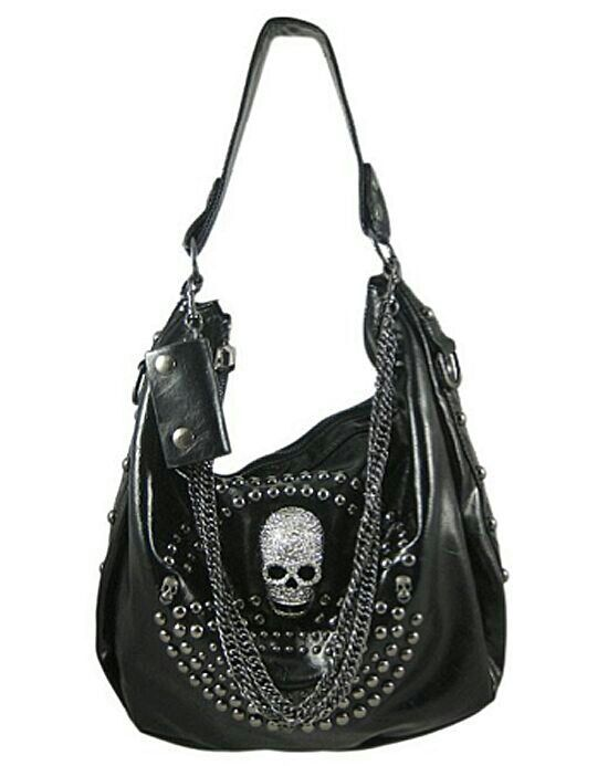 Black Gunmetal Studded Chain Skull Punk Rock Metal Handbag Purse.