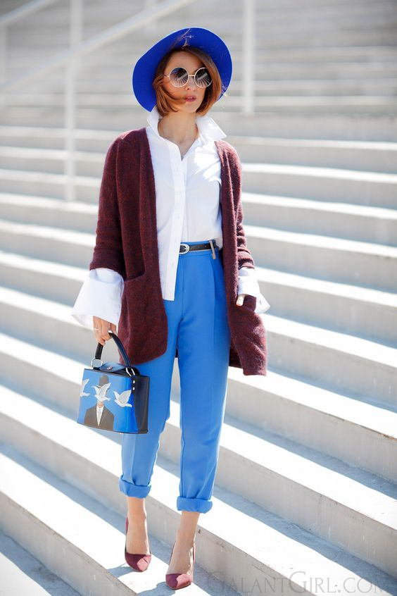 color blocking   color block   burgundy and electric blue