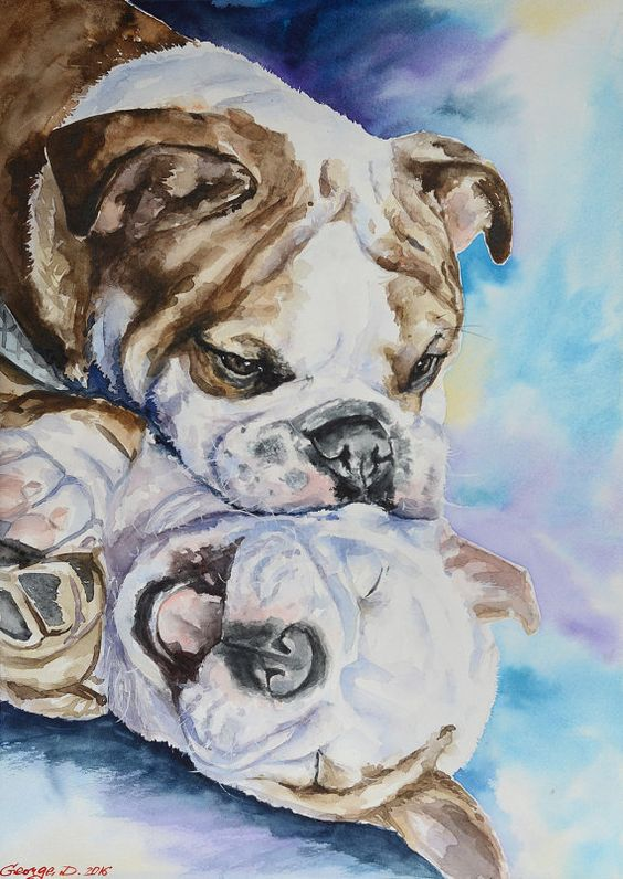 English bulldog's family Print of the от GeorgeWatercolorArt