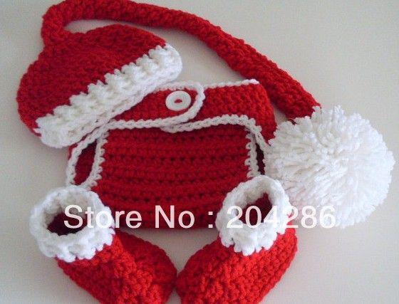 Crochet christmas baby conjunto de elfos chapéu tampa fralda botas recém-nascido ou 3-12 meses 2sets/lot online de calç...
