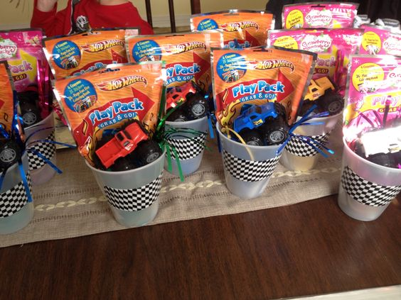 Monster truck party favor:dollar general race flag tape plastic cup small monster truck party horn grab and play activity set simple and easy !
