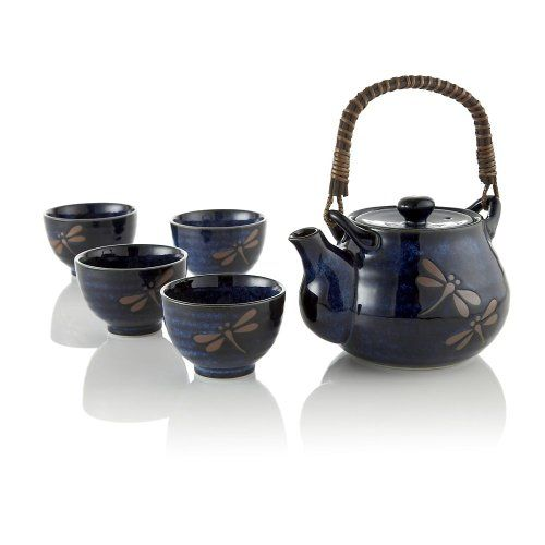 Teavana midnight dragonfly ceramic tea set teavana - Teavana teapot set ...