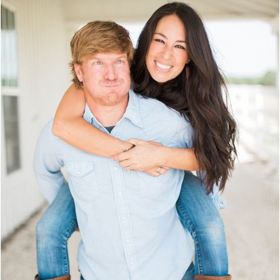 Joanna Gaines with Chip Gaines being quirky on set HGTV's Fixer Upper.