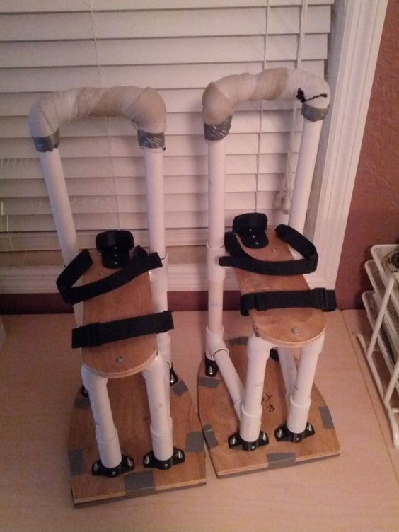 stilts - PVC, wood and some old shoes