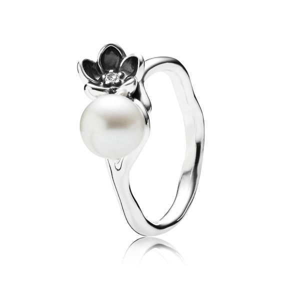 Mystic Floral and Pearl Ring | PANDORA eSTORE