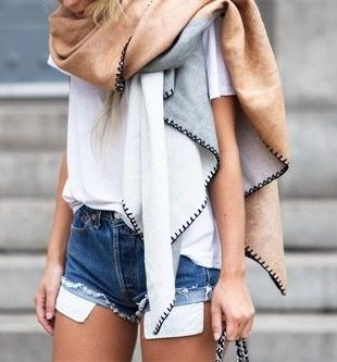 Mega scarf. Look for oversized ones to pair with neutrals.: