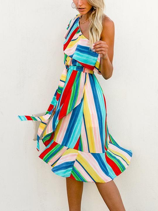 Rainbow Dress 💃 Off Shoulder Dress💓 i love ,and you?