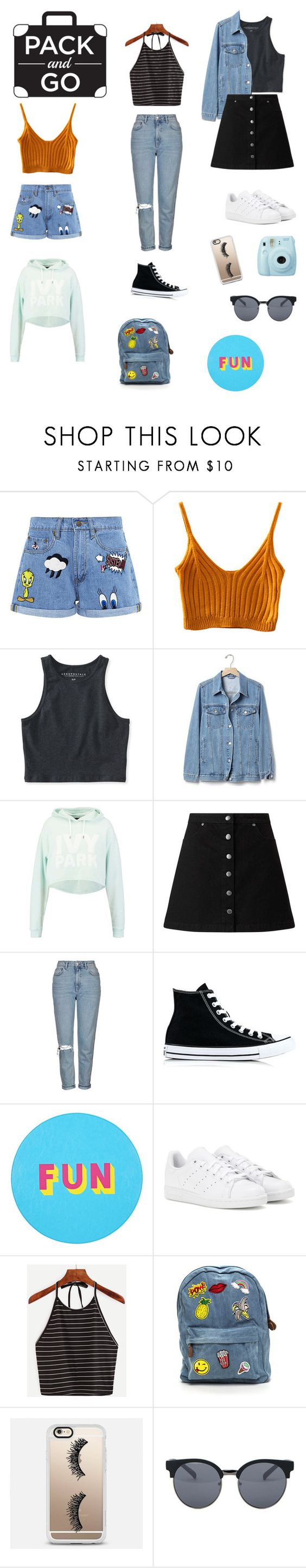 """#packandgo"" by lelarzgon ❤ liked on Polyvore featuring Paul & Joe Sister, Aéropostale, Gap, Ivy Park, Miss Selfridge, Topshop, Converse, Lisa Perry, adidas and Casetify"