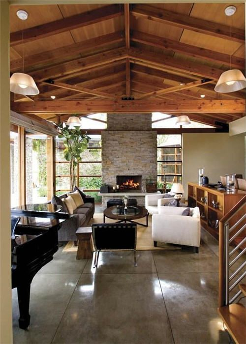 Concrete floors polished concrete and stone fireplaces on - Concrete floor living room ...
