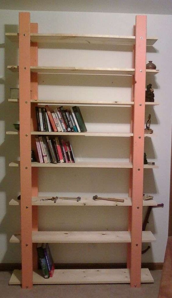 2x4 bookshelf that looks nicer crafts pinterest home for Large bookcase plans