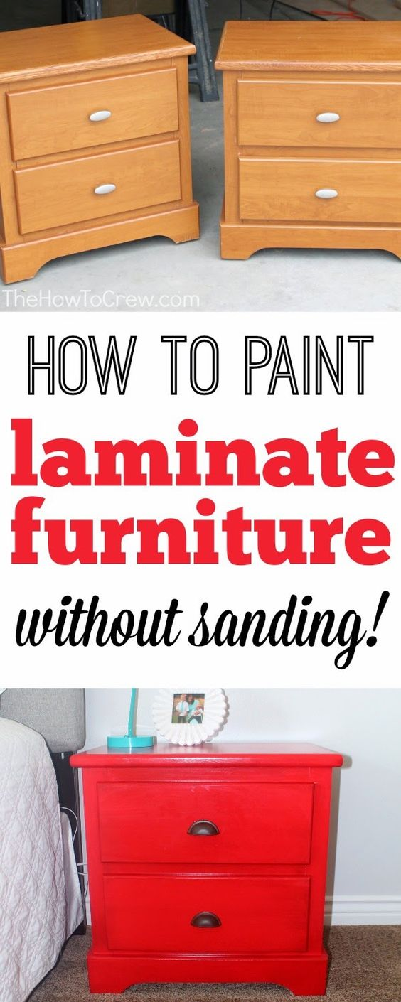 How To Paint Laminate Furniture (without sanding!) from TheHowToCrew.com.  A step-by-step tutorial to painting your furniture without sanding! #diy #paint #furniture #decor
