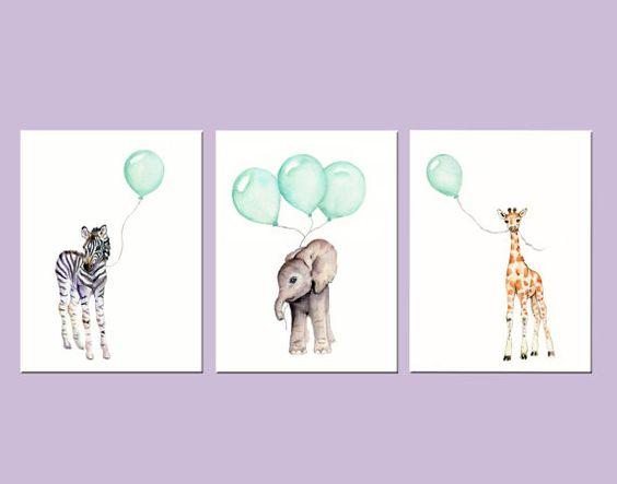 Minze-Kinderzimmer-Drucke, Tier print Set, Satz von Baumschule Drucke, 8 X 10 Zoll, Safaritiere, Elefant Kinderzimmer Kunst, Minze Luftballons, Minze grün