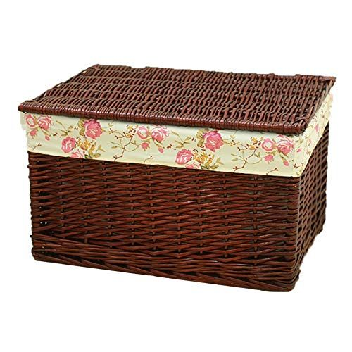 Storage Basket Laundry Basket With Lid Planting Willow Weaving Toy Box Rectangular Brown Moisture Proof Laundry Basket With Lid Storage Baskets Willow Weaving