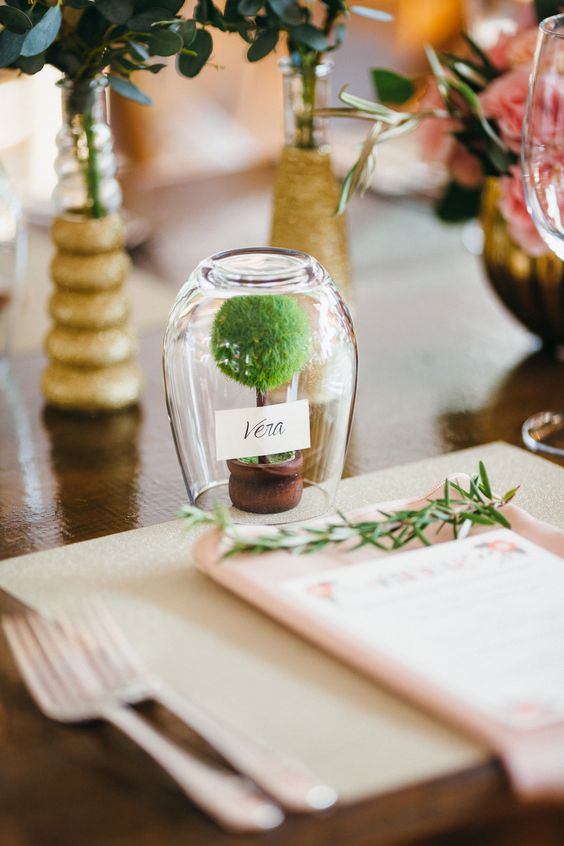 Terrarium Wedding Place Card holder